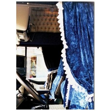 22h22 rideau complet bleu gris pour interieure de cabine. Black Bedroom Furniture Sets. Home Design Ideas